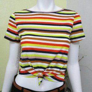 Stripe Knot Crop Short Sleeve Top